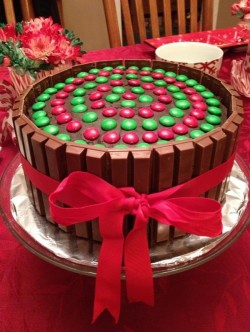 Christmas Cake with Kit Kats and M&Ms!!!! Yumm.
