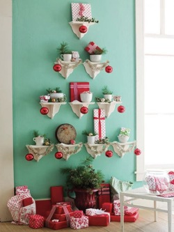 You can use small shelves to display wrapped boxes and other Christmas decorations.