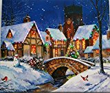"Lightahead 12×14 inch ""Wooden Framed"" PAINTING WALL ART With Fiber Optic Blinking Lights . GREAT CHRISTMAS DECORATION & GIFTS (Winter in the Village)"
