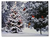 Christmas Tree & Cardinal Birds LED Canvas Print – Snowy Winter Forest Pine Trees Scene – Lighted Picture – Wall Art with Battery Operated Led Lights