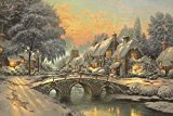 classic christmas painting by thomas kinkade – Print on Canvas 24 X 16inch: Unframed