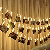 LED Photo Clip String Lights-Magnolian 20 Photo Clips Battery Powered Rope Lights, Wedding Party Christmas Home Decor Lights for Hanging Photos Paintings Cards and Artwork (20 Ft, Warm White)