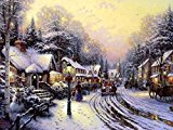 Village Christmas – Thomas Kinkade -Oil Painting On Canvas Modern Wall Art Pictures For Home Decoration Wooden Framed (12X16 Inch, Framed)