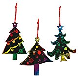 Magic Color Scratch Christmas Tree Ornaments (24 Count) – Crafts for Kids & Ornament Crafts