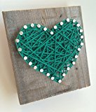 Sweet and small rustic Kelly green string art wooden heart block - A unique gift for Baby Boys, Weddings, Anniversaries, St. Patrick's Day, Birthdays, Valentine's Day and Christmas.