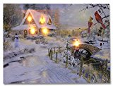 LED Canvas Art Print Wall Decoration – Village Cottages Along a Stream Christmas Scene with Cardinals and Snowman – Old Fashioned Cobblestone Bridge – 12×16 Inch by Banberry Designs
