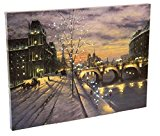 Christmas Winter Paris Cityscape LED Artwork with Touch-Activated Light Sensor – 15.75″ x 11.75″