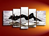 Ode-Rin Art Christmas Gift Hand Painted Oil Paintings Gift Women Lie Down 5 Panels Wood Inside Framed Hanging Wall Decoration