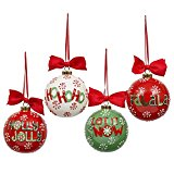 DII Ceramic, Hand-Painted, Holiday & Christmas Tree, Wreath & Garland, Mixed Set of 4, Holiday Words Ornaments