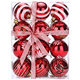 Sea Team 60mm/2.36″ Delicate Painting & Glittering Shatterproof Christmas Balls Decorative Hanging Christmas Ornaments Baubles Set for Xmas Tree – 24 Counts (Red)