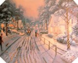 Darice Christmas Lightup Canvas Winter Street Scene 16x20