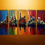 Ode-Rin Art Christmas Gift Hand Painted Oil Paintings Gift Colorful City 5 Panels Wood Inside Framed Hanging Wall Decoration
