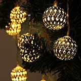 JOJOO 12 LED 12ft Moroccan Solar String Lights Metal Globe Lanterns Ornament Lights for Garden, Wedding, Party, Outdoor and Christmas, Amber LT004