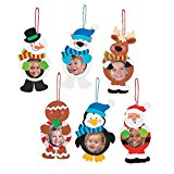 12 ~ Christmas Character Photo Frame Ornament Craft Kits ~ Foam Stickers ~ Approx. 6 1/2″ – 7 1/2″ with a 2 3/4″ Photo Space ~ New / Individually Packaged