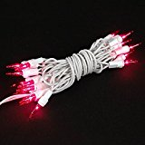 Novelty Lights 20 Light Pink Christmas Craft Mini Light Set, Non-Connectable, White Wire, 8′ Long