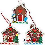 Prextex 3 Pack Christmas Ginger Bread House Tree Ornaments Great Christmas Decoration