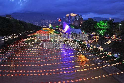 Christmas In Colombia South America.Christmas Navidad Celebration In Medellin Colombia